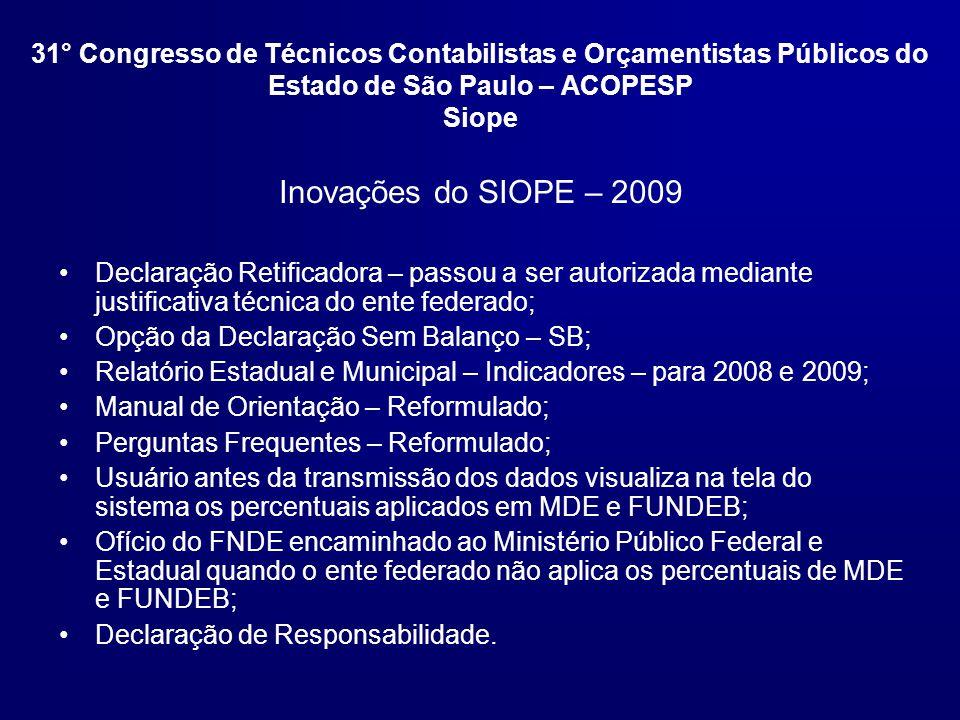 31° Congresso de Técnicos Contabilistas e Orçamentistas Públicos do Estado de São Paulo – ACOPESP Siope