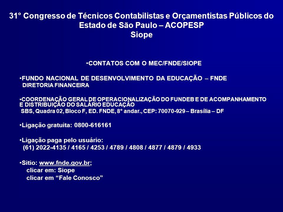 CONTATOS COM O MEC/FNDE/SIOPE