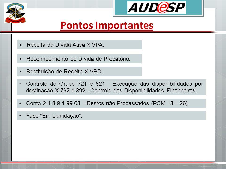 Pontos Importantes Receita de Dívida Ativa X VPA.