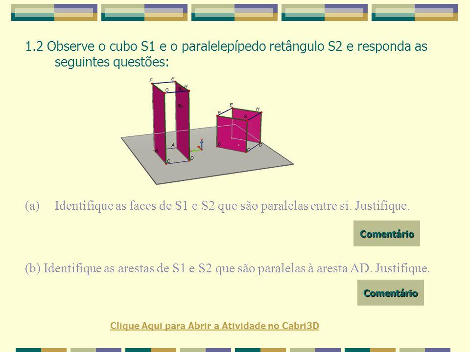 1.2 Observe o cubo S1 e o paralelepípedo retângulo S2 e responda as seguintes questões: