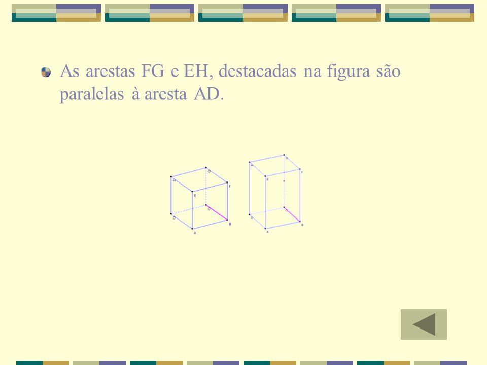 As arestas FG e EH, destacadas na figura são paralelas à aresta AD.