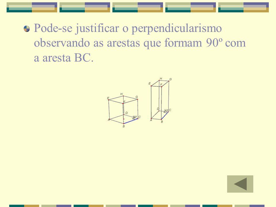 Pode-se justificar o perpendicularismo observando as arestas que formam 90º com a aresta BC.
