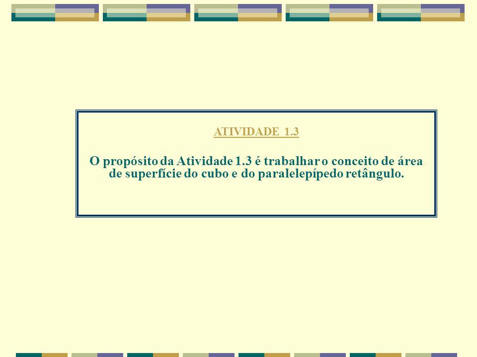 ATIVIDADE 1.3 O propósito da Atividade 1.3 é trabalhar o conceito de área de superfície do cubo e do paralelepípedo retângulo.