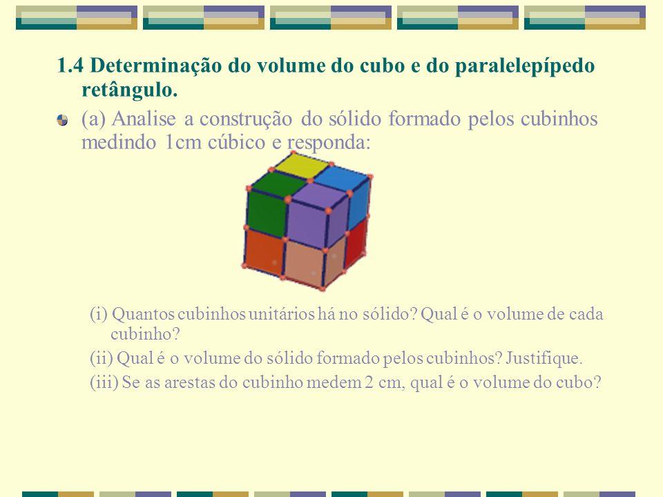 1.4 Determinação do volume do cubo e do paralelepípedo retângulo.