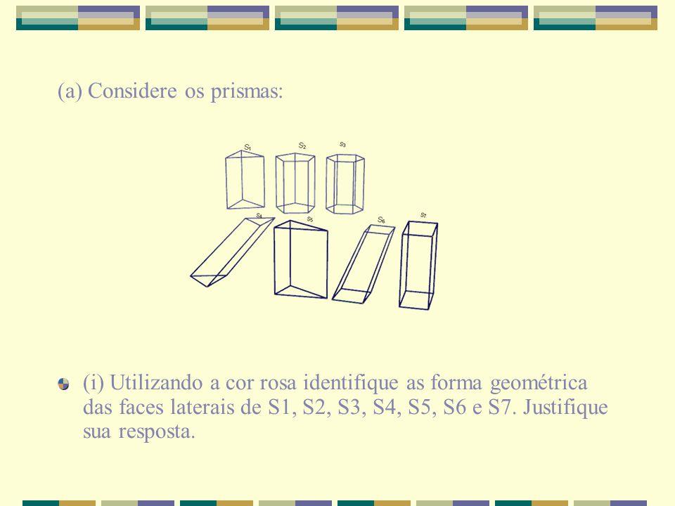 (a) Considere os prismas: