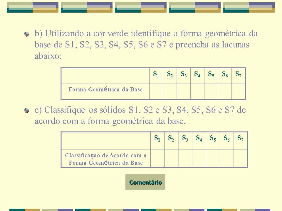 b) Utilizando a cor verde identifique a forma geométrica da base de S1, S2, S3, S4, S5, S6 e S7 e preencha as lacunas abaixo: