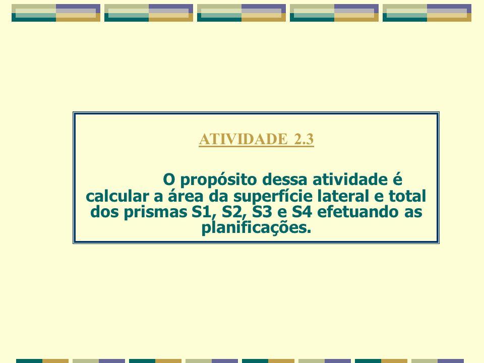 ATIVIDADE 2.3 O propósito dessa atividade é calcular a área da superfície lateral e total dos prismas S1, S2, S3 e S4 efetuando as planificações.