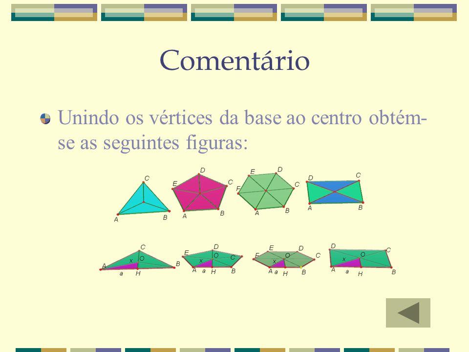 Comentário Unindo os vértices da base ao centro obtém-se as seguintes figuras: