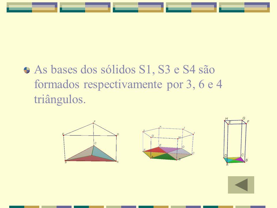 As bases dos sólidos S1, S3 e S4 são formados respectivamente por 3, 6 e 4 triângulos.