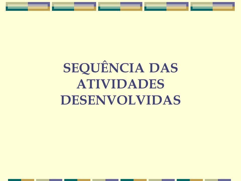 SEQUÊNCIA DAS ATIVIDADES DESENVOLVIDAS