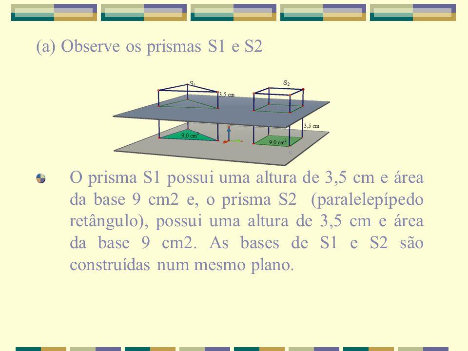 (a) Observe os prismas S1 e S2