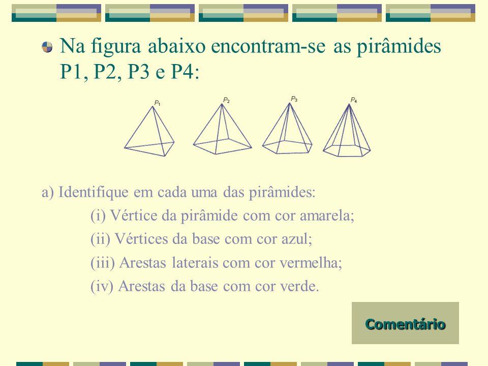 Na figura abaixo encontram-se as pirâmides P1, P2, P3 e P4: