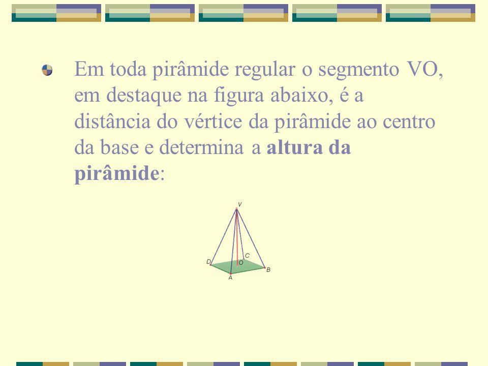 Em toda pirâmide regular o segmento VO, em destaque na figura abaixo, é a distância do vértice da pirâmide ao centro da base e determina a altura da pirâmide: