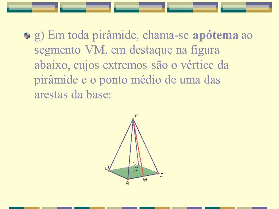 g) Em toda pirâmide, chama-se apótema ao segmento VM, em destaque na figura abaixo, cujos extremos são o vértice da pirâmide e o ponto médio de uma das arestas da base: