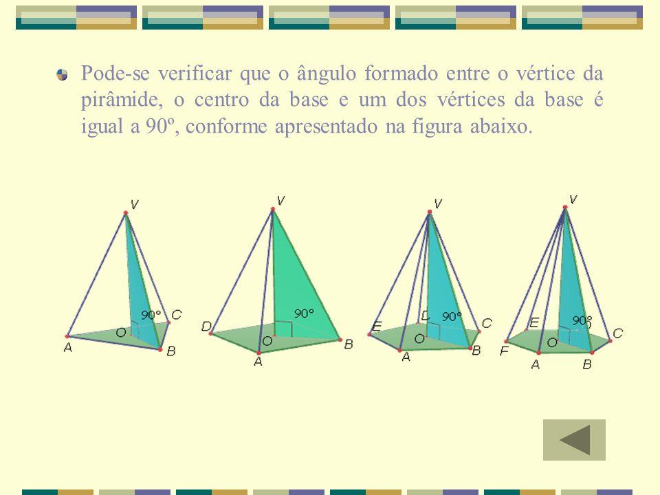 Pode-se verificar que o ângulo formado entre o vértice da pirâmide, o centro da base e um dos vértices da base é igual a 90º, conforme apresentado na figura abaixo.