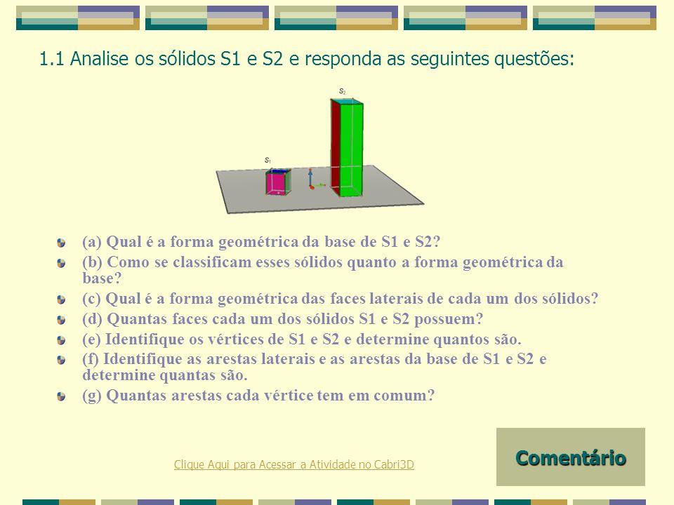 1.1 Analise os sólidos S1 e S2 e responda as seguintes questões: