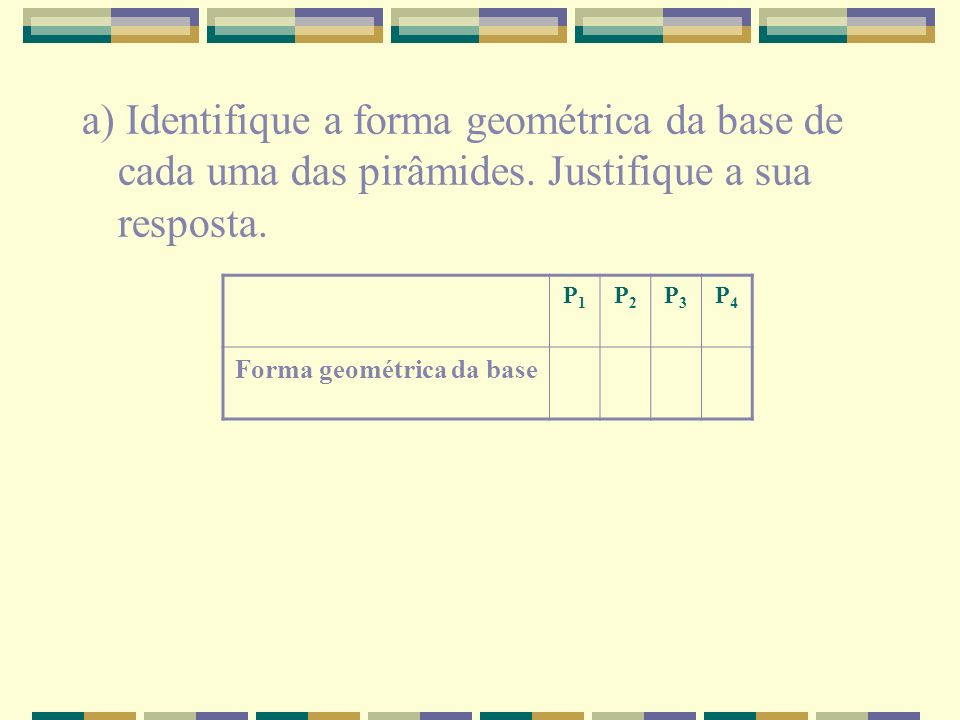 Forma geométrica da base