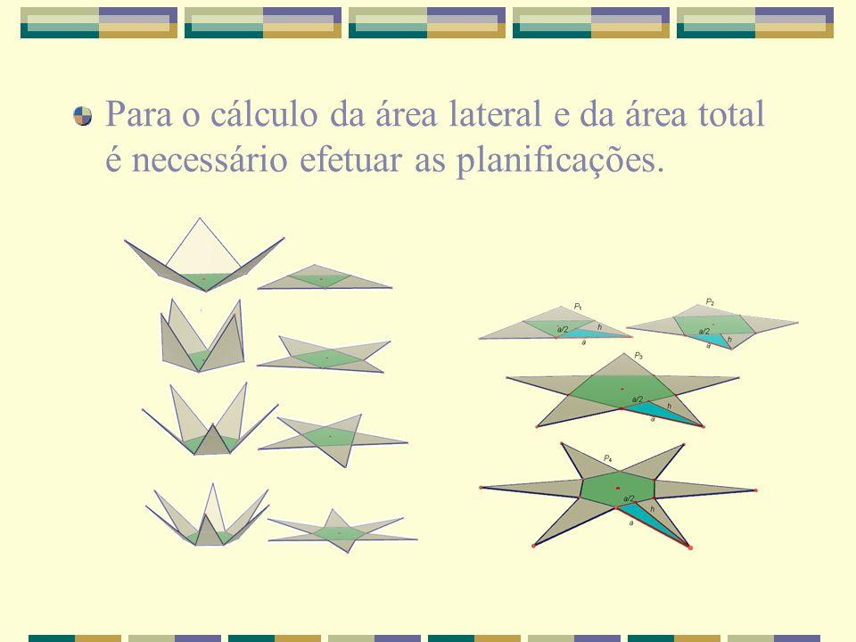 Para o cálculo da área lateral e da área total é necessário efetuar as planificações.