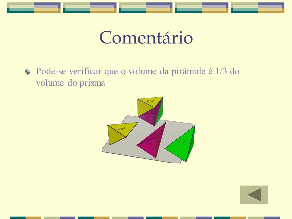 Comentário Pode-se verificar que o volume da pirâmide é 1/3 do volume do prisma