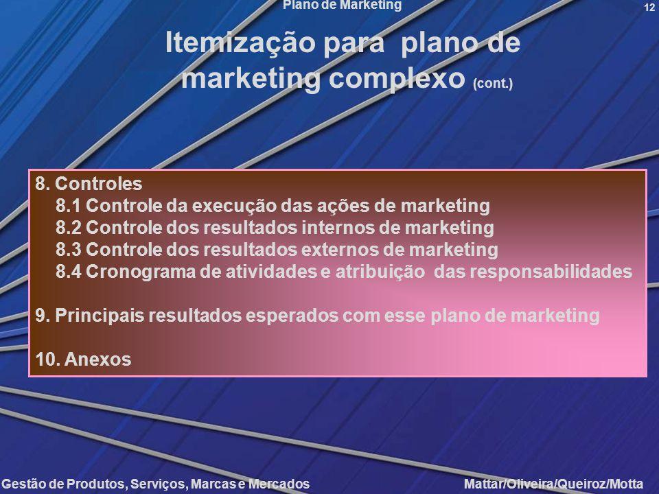 Itemização para plano de marketing complexo (cont.)