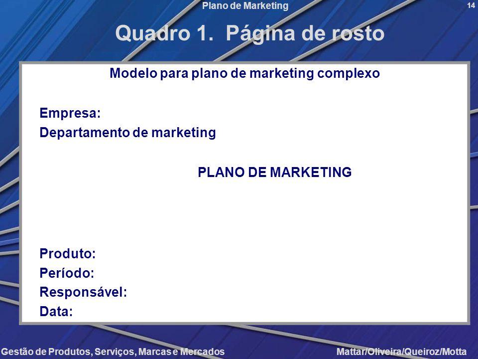 Modelo para plano de marketing complexo