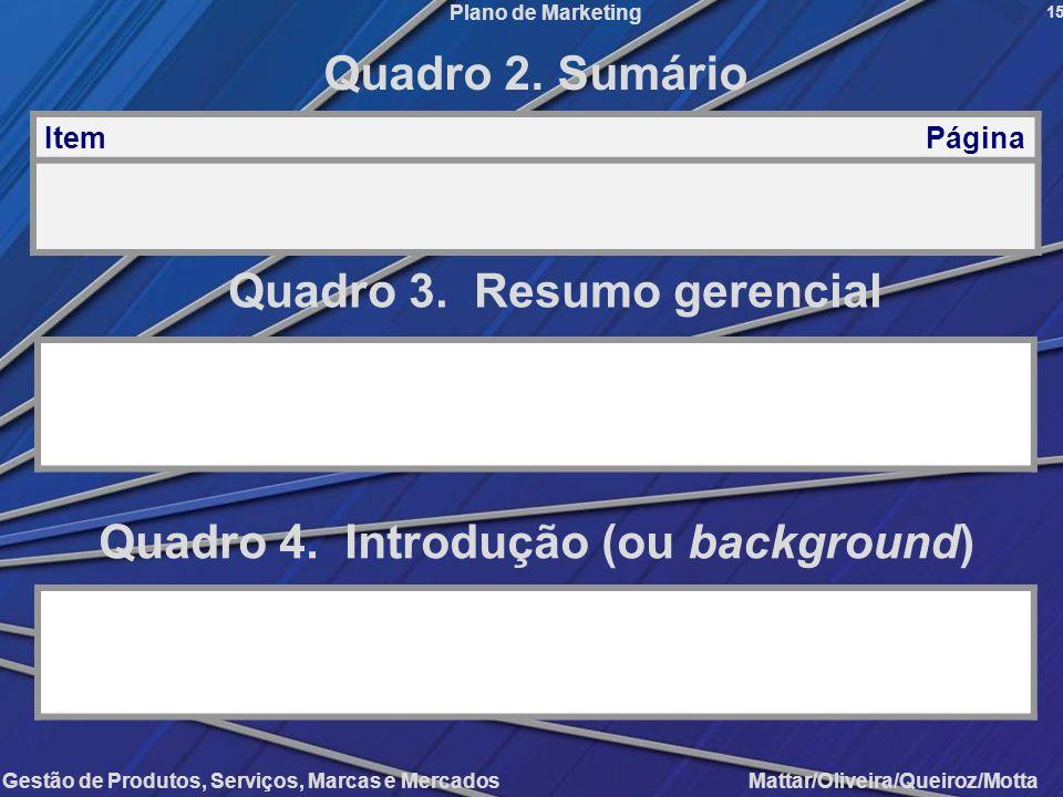 Quadro 3. Resumo gerencial Quadro 4. Introdução (ou background)