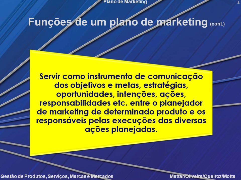 Funções de um plano de marketing (cont.)