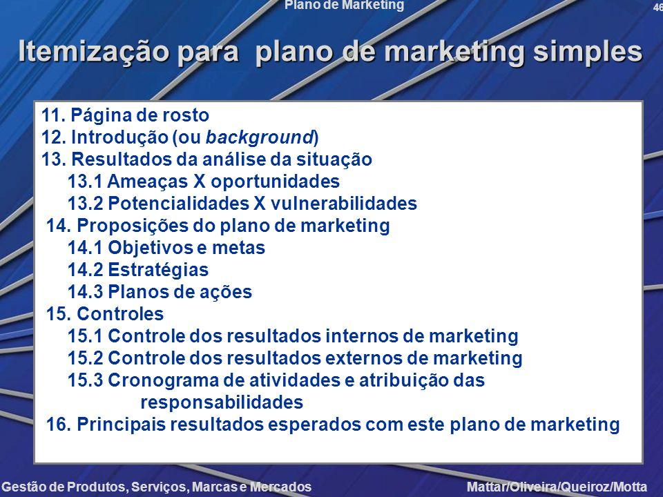 Itemização para plano de marketing simples