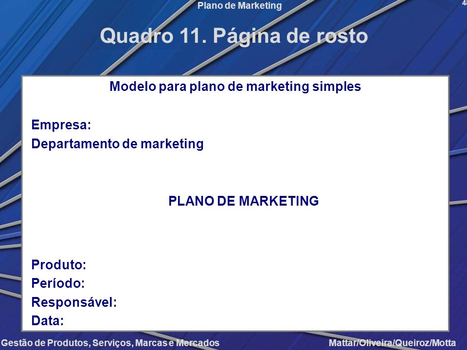 Modelo para plano de marketing simples