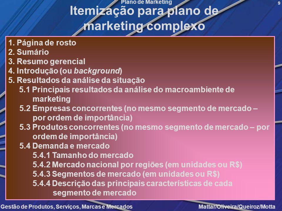 Itemização para plano de marketing complexo