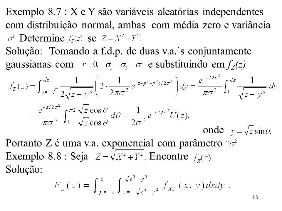 Exemplo 8.7 : X e Y são variáveis aleatórias independentes
