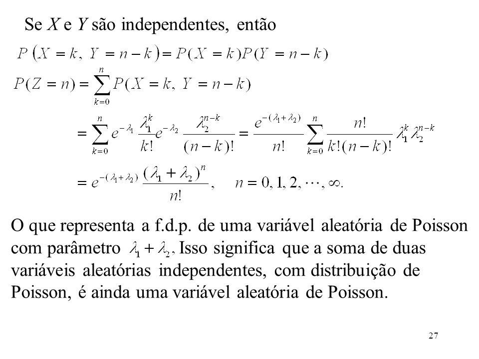 Se X e Y são independentes, então