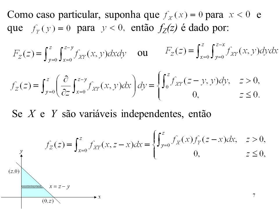 Como caso particular, suponha que para e que para então fZ(z) é dado por:
