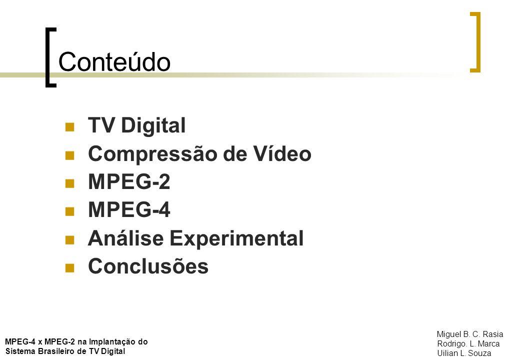 Conteúdo TV Digital Compressão de Vídeo MPEG-2 MPEG-4