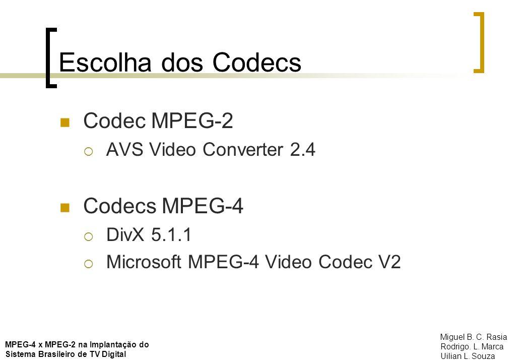 Escolha dos Codecs Codec MPEG-2 Codecs MPEG-4 AVS Video Converter 2.4
