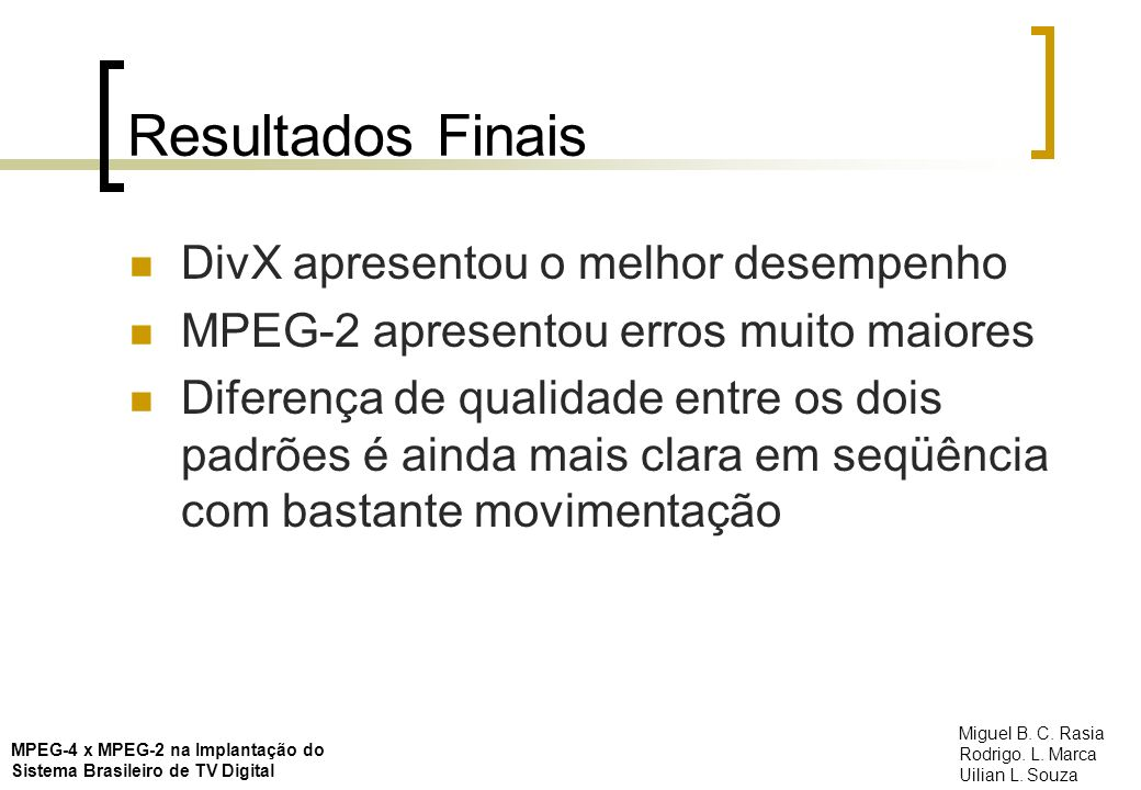 Resultados Finais DivX apresentou o melhor desempenho