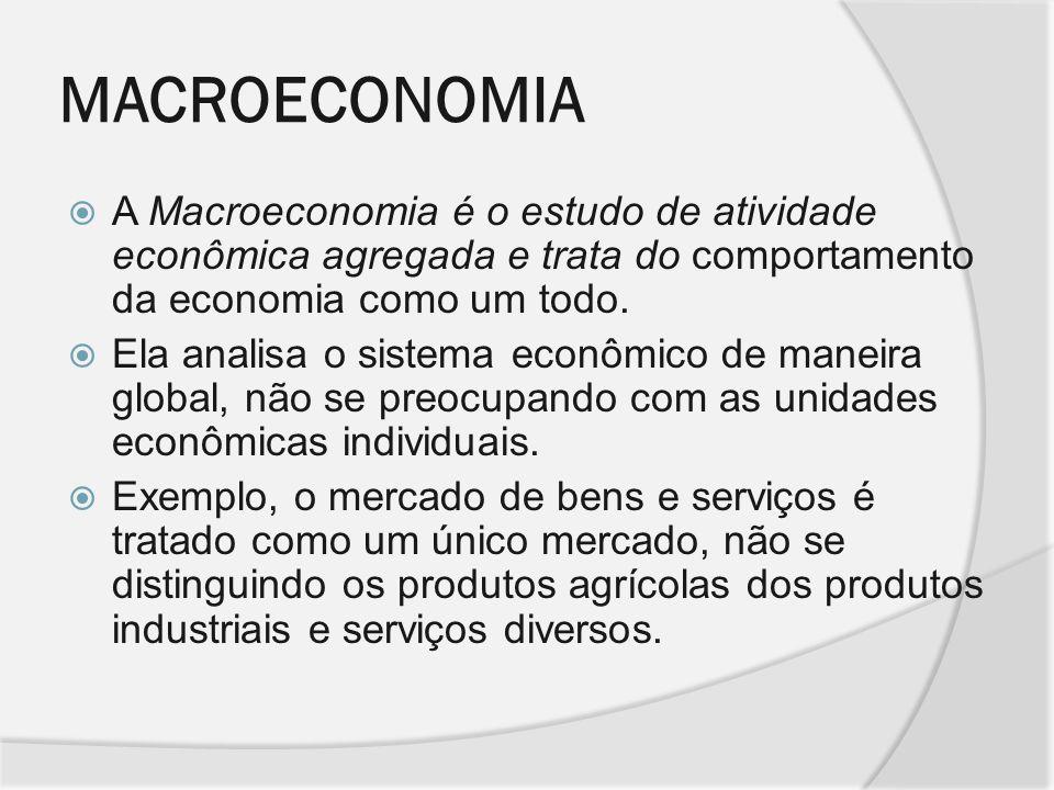 MACROECONOMIA A Macroeconomia é o estudo de atividade econômica agregada e trata do comportamento da economia como um todo.