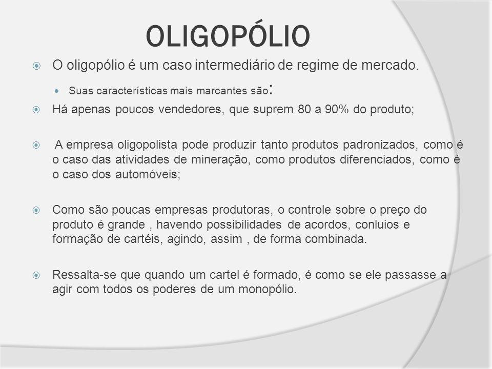 OLIGOPÓLIO O oligopólio é um caso intermediário de regime de mercado.