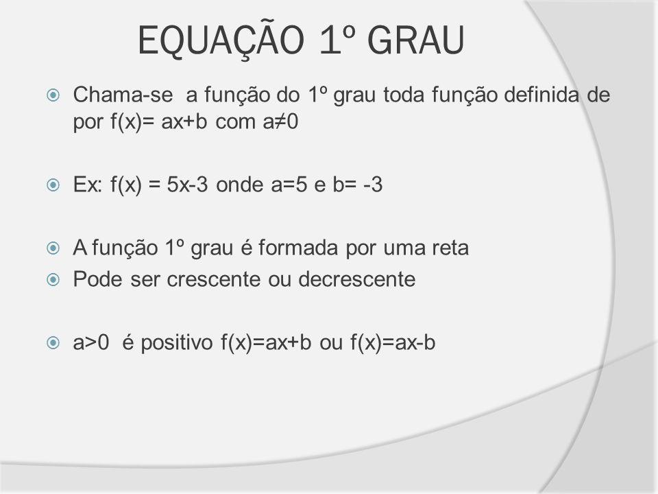 EQUAÇÃO 1º GRAUChama-se a função do 1º grau toda função definida de por f(x)= ax+b com a≠0. Ex: f(x) = 5x-3 onde a=5 e b= -3.