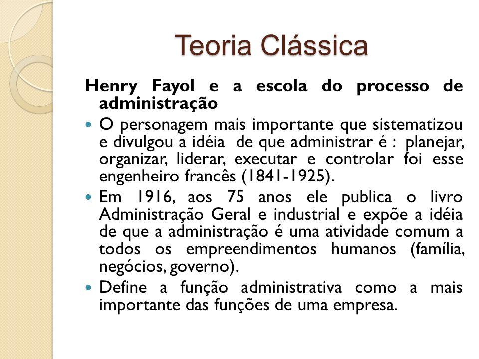 Teoria Clássica Henry Fayol e a escola do processo de administração