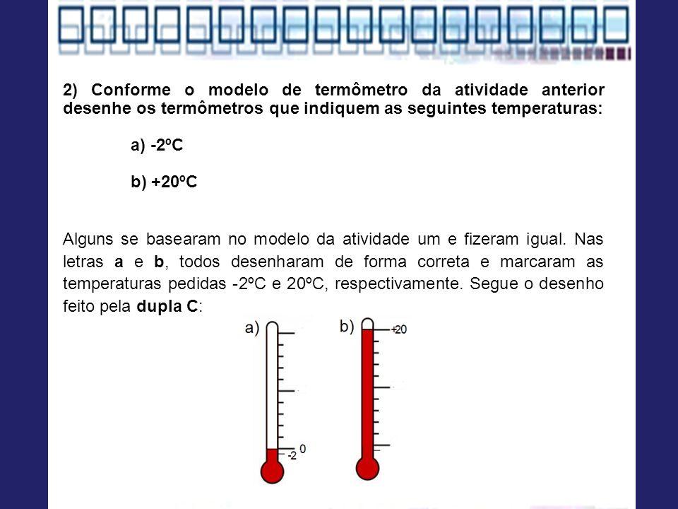 2) Conforme o modelo de termômetro da atividade anterior desenhe os termômetros que indiquem as seguintes temperaturas: