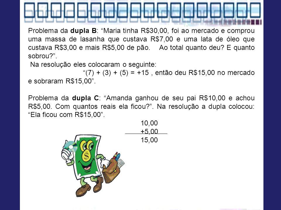 Problema da dupla B: Maria tinha R$30,00, foi ao mercado e comprou uma massa de lasanha que custava R$7,00 e uma lata de óleo que custava R$3,00 e mais R$5,00 de pão. Ao total quanto deu E quanto sobrou .