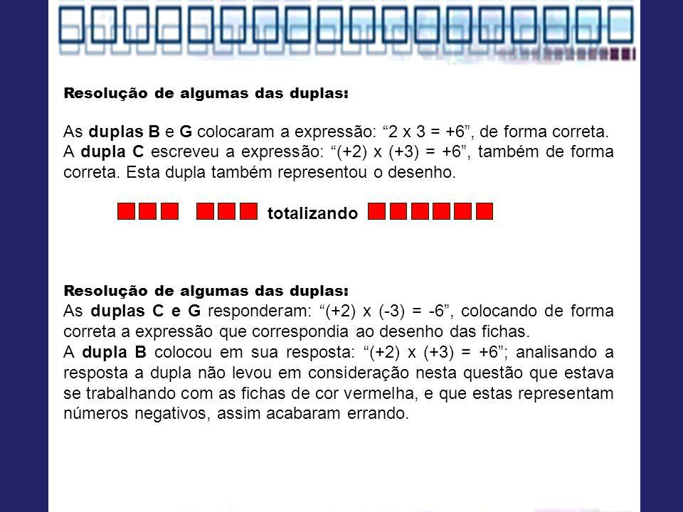 As duplas B e G colocaram a expressão: 2 x 3 = +6 , de forma correta.