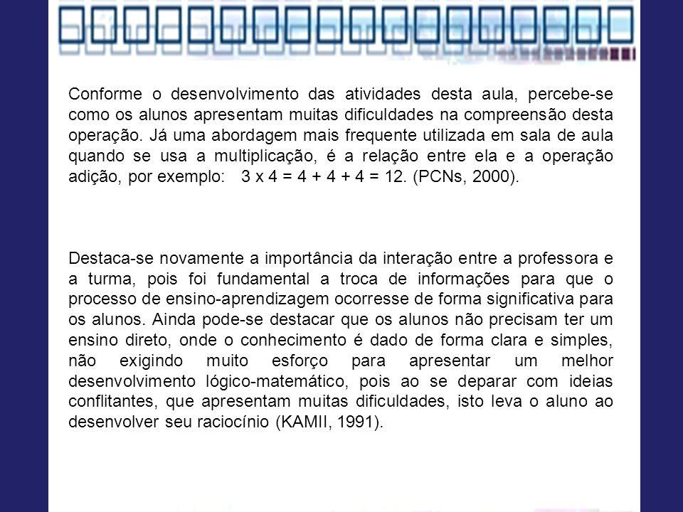 Conforme o desenvolvimento das atividades desta aula, percebe-se como os alunos apresentam muitas dificuldades na compreensão desta operação. Já uma abordagem mais frequente utilizada em sala de aula quando se usa a multiplicação, é a relação entre ela e a operação adição, por exemplo: 3 x 4 = 4 + 4 + 4 = 12. (PCNs, 2000).