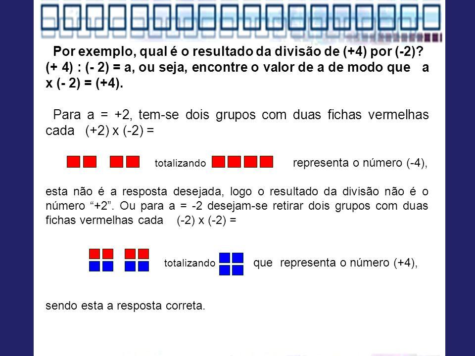 Por exemplo, qual é o resultado da divisão de (+4) por (-2)