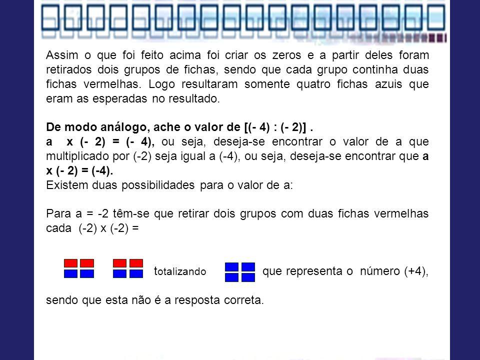 Assim o que foi feito acima foi criar os zeros e a partir deles foram retirados dois grupos de fichas, sendo que cada grupo continha duas fichas vermelhas. Logo resultaram somente quatro fichas azuis que eram as esperadas no resultado.