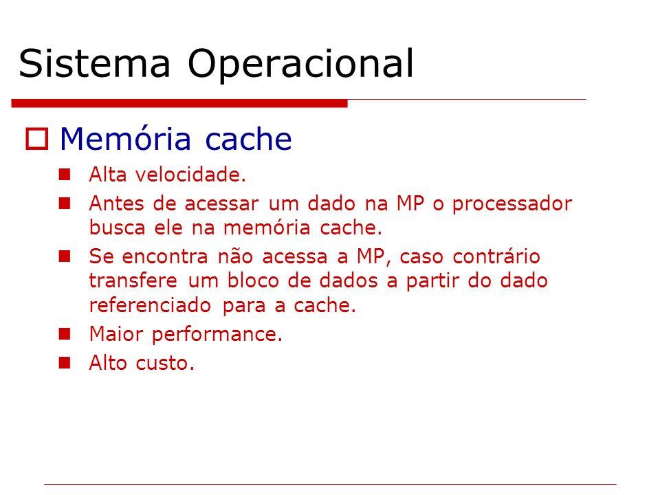 Sistema Operacional Memória cache Alta velocidade.