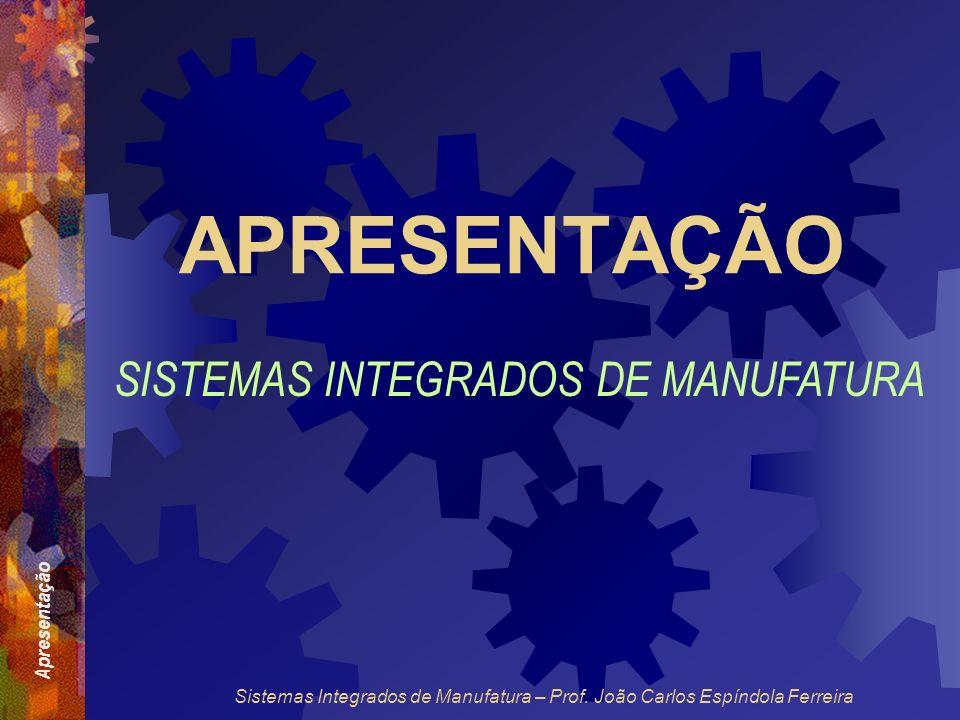 APRESENTAÇÃO SISTEMAS INTEGRADOS DE MANUFATURA