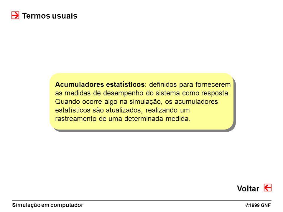 Termos usuais Acumuladores estatísticos: definidos para fornecerem. as medidas de desempenho do sistema como resposta.