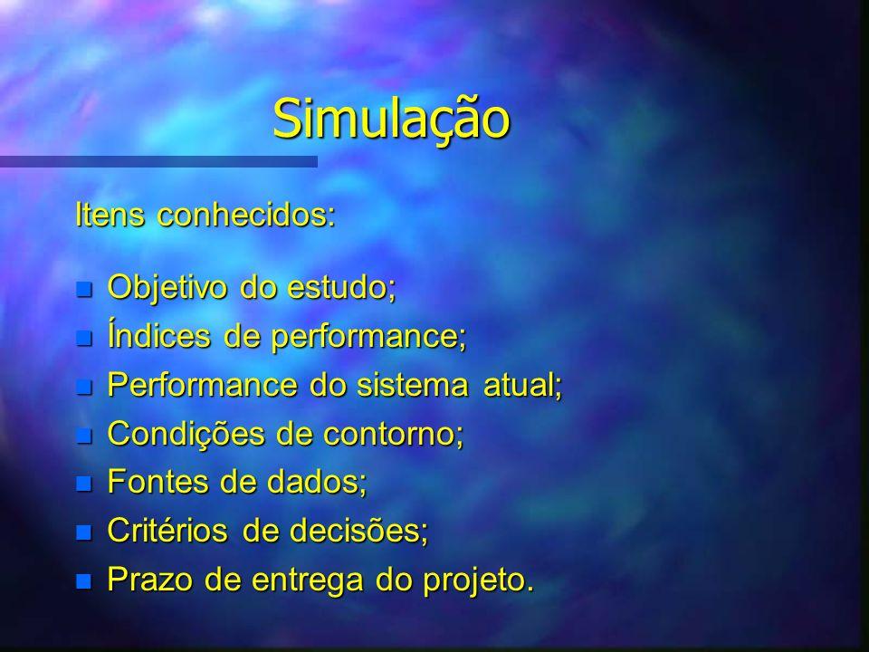 Simulação Itens conhecidos: Objetivo do estudo;